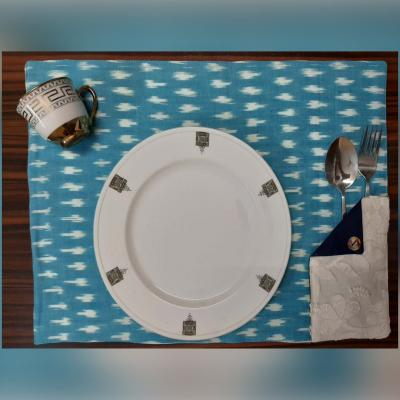 Blue Ikat Table Mats With White Chikan Pockets- Set Of 6