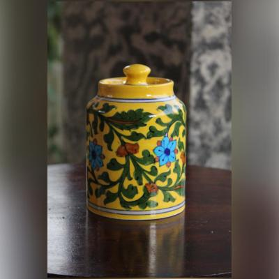 Blue Pottery Yellow Floral Sugar/ Cookie Jar – 5.5 Inch