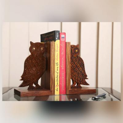 Engraved Owl Bookend In Sheesham Wood - Book Organizer