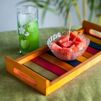 Colorful Wooden Serving Tray (13x6 Inch) - Yellow