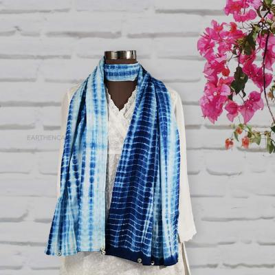 Handcrafted Shibori Stole With Shell Button Trim- Ivory, Blue