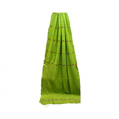 Pure Cotton Kantha Stitched Saree- parrot green