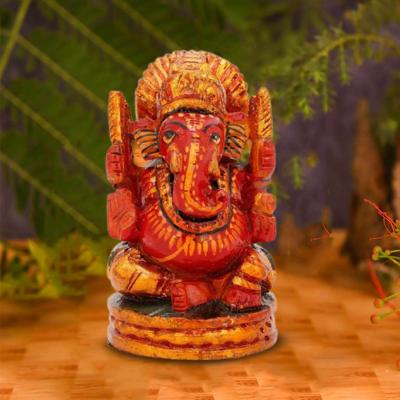 Wooden Ganesh Idol (Red) (3 Inches height)