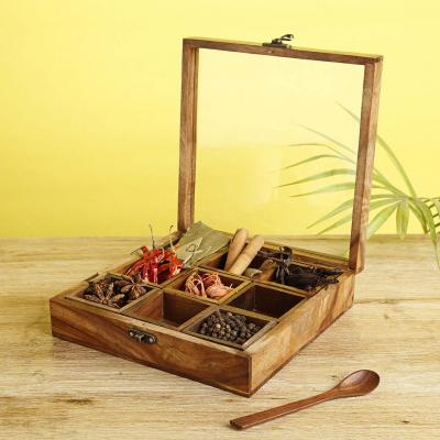 Wooden Spice Box In Sheesham Wood With 9 Containers-Brown
