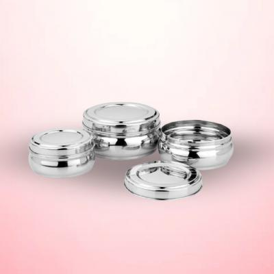 Stainless Steel Orange Puri Dabba / Containers with lid Set of 3