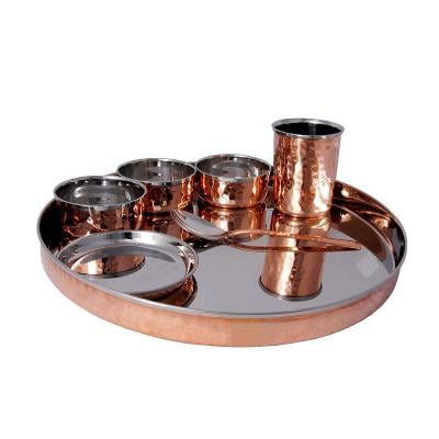 Stainless Steel Hammered Copper Thali, 7 Pieces