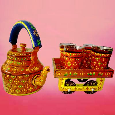 Handpainted Aluminium Kettle With Glass & Thela Cart - 5076-T