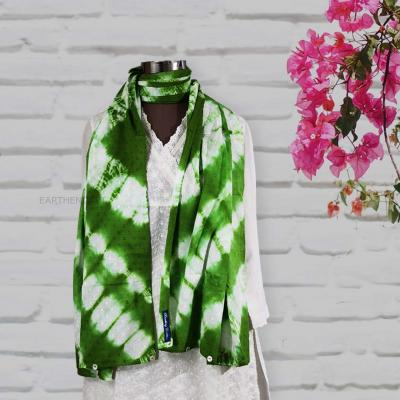 Handcrafted Shibori Stole With Shell Button Trim- Vertical Chevrons- Ivory, Rreen