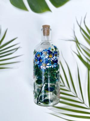 Cineraria flowers upcycled water bottle