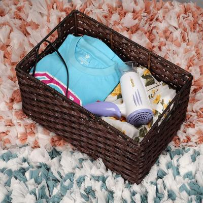 Wicker Rectangle Utility Basket for Storing Towels, Wadrobe Storage, (Handmade)