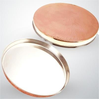 Stainless Steel Copper Dinner Plate Thali, Dinnerware and Tableware (12 Inch)