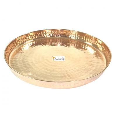 Pure Copper Hammered Dinner Thali Plate, 12-inch (Brown)