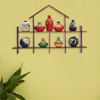 9 Warli Handpainted Terracotta Pots with Sheesham Wooden Hut Frame Wall Hanging(40.6 cm x 51 cm x 27.9 cm, Set of 9) -Terracotta Showpiece Decorative for Home Wall Hanging Shelves