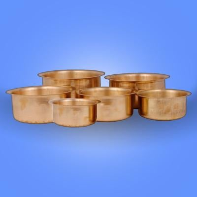 Pure Brass Patila / Tope 6 Pieces (400 ml to 1.6 Liter)