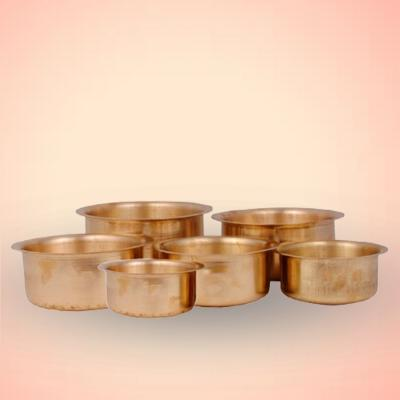 Pure Brass Patila / Tope 6 Pieces With Spoon (400 ml To 1.6 Liter)