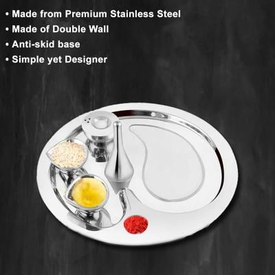 FnS Premium Stainless Steel Silver Pooja Thali Set of 5 Pc (11 Inch)