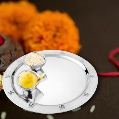 FnS Stainless Steel Premium Silver 9 Inch Pooja Thali Set of 3 Pcs