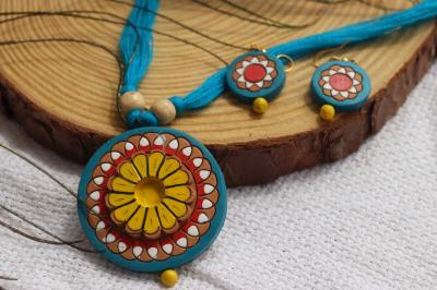 Terracotta Necklace and Earring Set in Blue Color