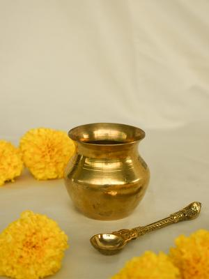 Anahata's Brass Pooja Urn with Spoon (S)